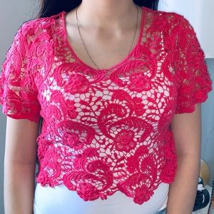 Express crotchet crop top in pink